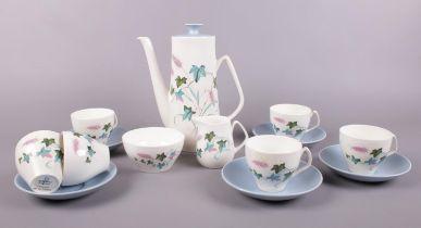 A Staffordshire 'Ferona' coffee set. Coffee pot, 6 coffee cups, 5 saucers, milk jug, sugar bowl.