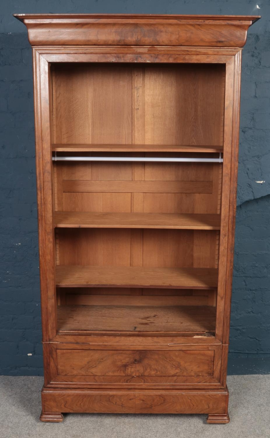 A French figured Walnut carved armoire with single mirrored door. Oak lined. (205cm height, 95cm - Image 2 of 2