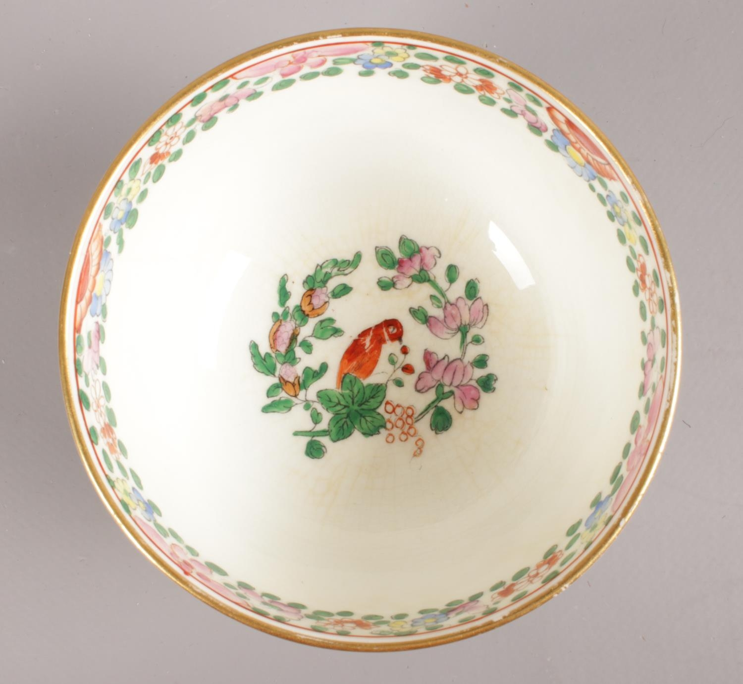 A Royal Worcester hand-painted small bowl and saucer. Decorated in the Worcester parrot pattern with - Image 4 of 4