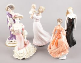 A quantity of ceramic figures formed as ladies. Including Royal Worchester examples, etc.