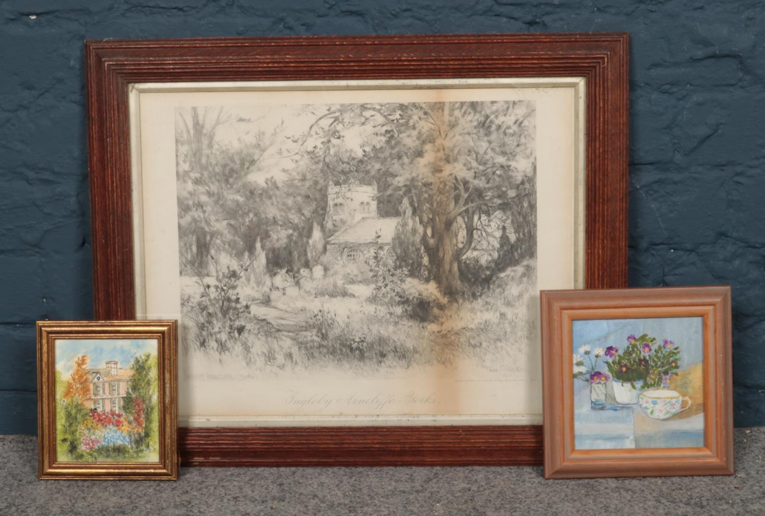 Three framed pictures. Includes print after Fred Simpson, Ingleby Arncliffe, Margaret Totty and M