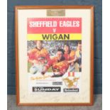A Sheffield Eagles Rugby League Club Signed framed Poster. Sheffield Eagles v Wigan 27.3.94 Match
