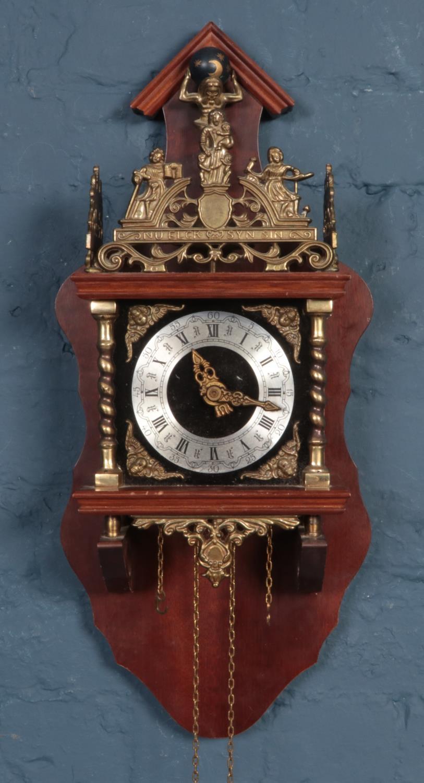 A Dutch Wall clock & Torsion clock. (63cm height wall clock) No weights