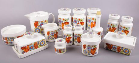 A collection of Lord Nelson pottery. 'Gaytime' storage jars, salt and pepper pots, butter dishes,