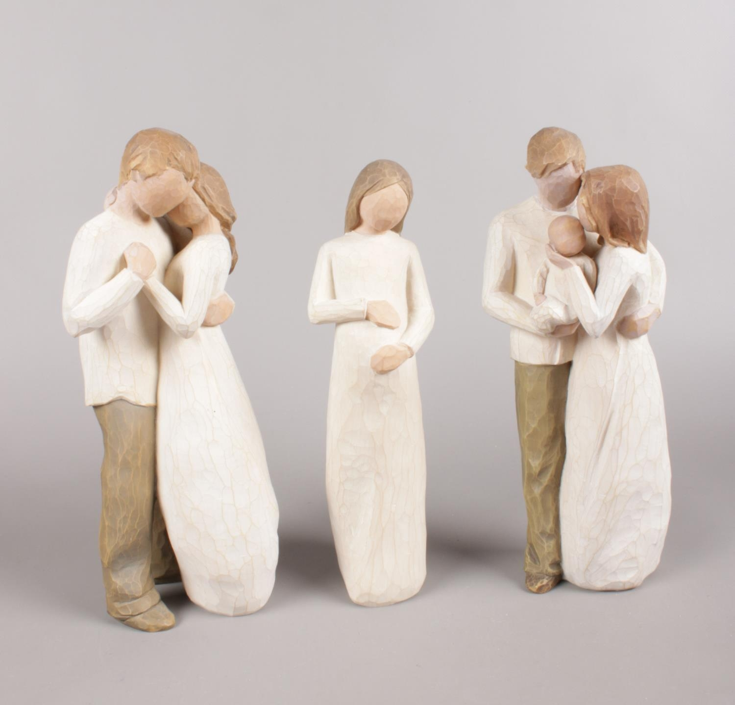 A Trio of Willow Tree Figures, including 'Our Gift - 2006', 'Cherish - 2002' and 'Promise - 2003'.