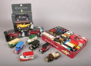Two boxes of diecast vehicles. Includes Corgi, Lledo, boxed Shell examples etc.