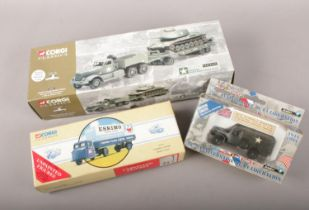 A group of boxed die cast vehicles. Corgi Classics 55101 United States Armed Forces, Corgi