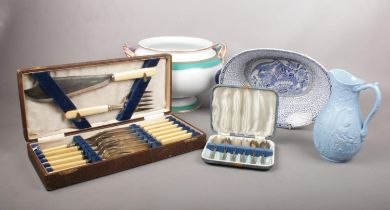 A group of miscellaneous. Walker & Hall boxed fish cutlery, Adams twin handed bowl etc