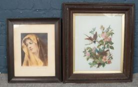 Two framed pictures. Comprising of a picture of The 'Madonna' & nesting birds. Madonna: H:24cm, W: