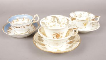 A collection of Rockingham pottery. Trio & 2 cups and saucers c.1830-42