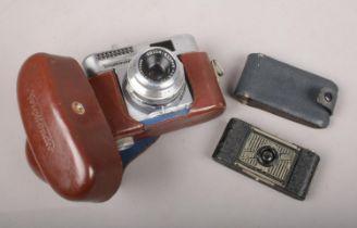 Two vintage cameras. Ensign Midget Model 22 and a Voigtlander Vito BL camera