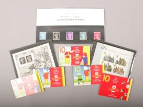A small quantity of stamps. Includes Royal Mail Penny Black anniversary stamps, miniature sheets,