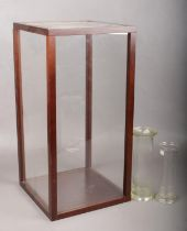 A Perspex display case together with two glass specimen jars. H:50.5cm, W:25cm.