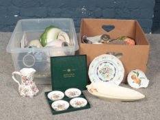 Two boxes of miscellaneous. Beswick ware, Royal Worcester, Minton cut glass decanter and goblets etc