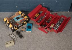 A tool box and contents together with a box of locks. To include a red metal five tray tool box with