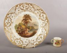 A Royal Crown Derby plate with a scene from Cromford near Derbyshire scene, & a Royal Worcester