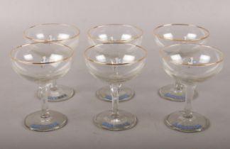 Six Babycham drinking glasses.