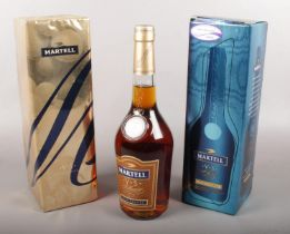 Two boxed full & sealed Martell fine cognac. Including Martell 1715 example, etc.