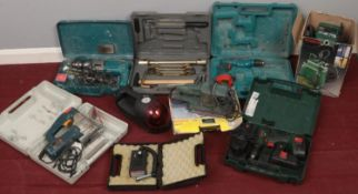A quantity of mostly power tools. Including drills, saws, sander, etc.