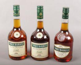 Three bottles of full & sealed Three Barrels French brandy.