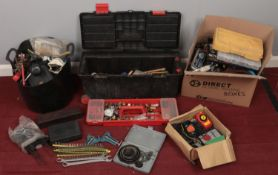 A quantity of tools. Including hand crank screwdrivers, tools box and contents, spanners, etc.