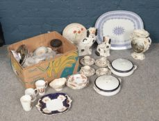 A box of assorted ceramics. To include two Meakin tureens, 'Maling' dish, Indian Tree Johnson Bros