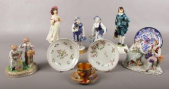 A small quantity of named ceramics. To include a Royal Worcester coffee cup & saucer signed by T