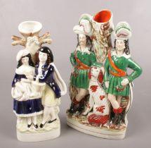 Two Victorian Staffordshire flatback figures.