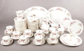 A large selection of Royal Albert in the 'Lavender Rose' pattern. Approx. 97 pieces. To include