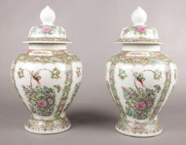Two ceramic decorative ginger jars. 43cm height.