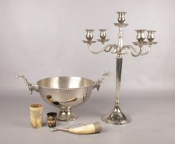 A small quantity of mostly metalwares. To include an electroplated punch bowl with stag head