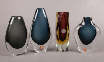 Four pieces of art glass. To include two Swedish Orrefors vases a Murano glass vase and one