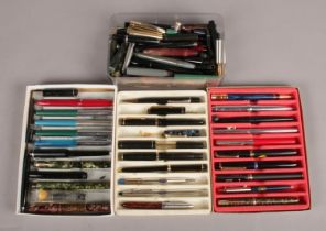 Four Boxes of Fountain Pens and Spares/Repairs. To include examples from Parker and Platinum.