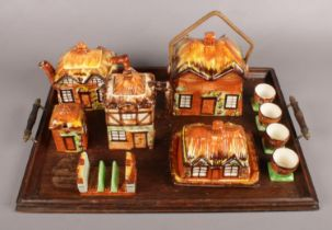 A Collection of Cottage Ware with Oak Serving Tray. Cottage Ware to include Wicker Handled Biscuit