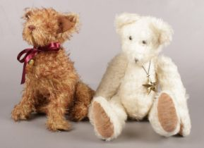 Two vintage jointed soft toys. To include a teddy bear and dog. Tallest: H:42cm.