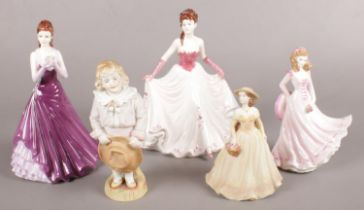 Five Coalport and Royal Worcester Figurines. To include 'Sarah', 'Thinking of You' and 'Happy