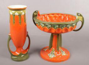 Two pieces of Julius Dressler Art Nouveau pottery. Vase and pedestal bowl. Vase cracked. Bowl