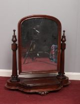 A Victorian mahogany dressing table swing mirror. (80cm height 72.5cm)