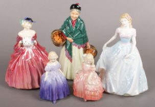 A Collection of Five Royal Doulton Figurines. To include: HN1962 'Genevieve', HN1953 'Orange