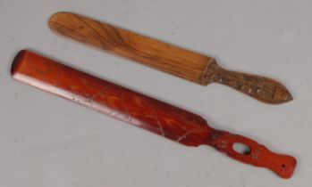 Two Wooden Page Turners, with Decoration. One with Sunflowers engraved into the handle, the other