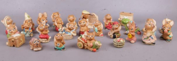A collection of Pendelfin figures. 'Rocky', 'Duffy', 'Rosa' etc