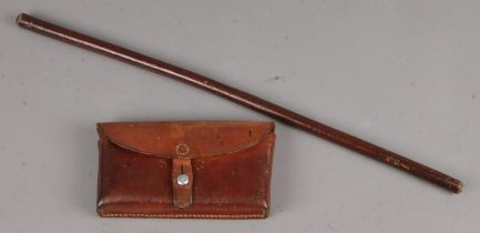 A Leather Coated Swagger Stick, together with a Swiss Leather Dispatch Pouch. Length of Stick: 61cm.