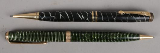 A Conway Stewart 'No 24' Cracked Ice Pencil (1933), together with a Parker Emerald Pearl Pencil (