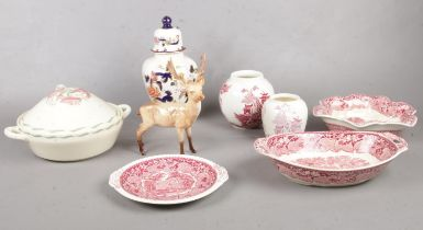 A group of ceramic's. Beswick Stag, Mason's ginger jar, vases, dishes, Susie Cooper tureen etc