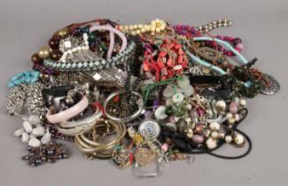 A group of costume jewellery. Beads, bracelets, bangles etc.