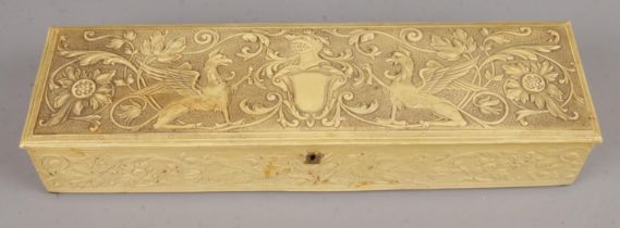 An Edwardian Faux Ivory Rectangular Glove Box decorated with Foliage and Griffins, with Ivory