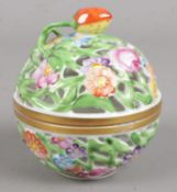 A ceramic Herend Hungary hand painted pot pourri ball. 8cm tall. Condition good.