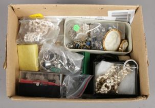 A Small Box of Costume Jewellery, including Cameo Brooches, Pearls and Rings.