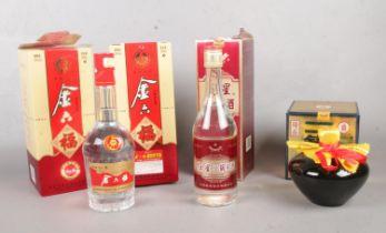 Four full & sealed boxed oriental alcohol. Jinliufc etc