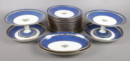 A collection of Wedgwood dinnerwares with blue and gilt decoration. Pattern number 9933.